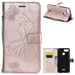 Embossing 3D Butterfly Leather Wallet Case for Mi Xiaomi Redmi 6 - Rose Gold