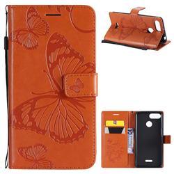 Embossing 3D Butterfly Leather Wallet Case for Mi Xiaomi Redmi 6 - Orange