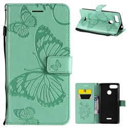 Embossing 3D Butterfly Leather Wallet Case for Mi Xiaomi Redmi 6 - Green