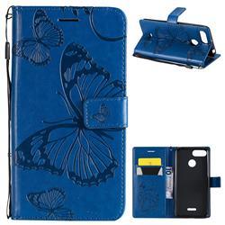 Embossing 3D Butterfly Leather Wallet Case for Mi Xiaomi Redmi 6 - Blue