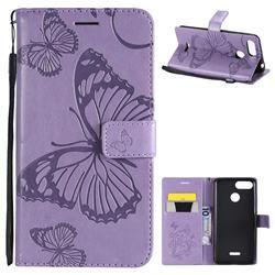 Embossing 3D Butterfly Leather Wallet Case for Mi Xiaomi Redmi 6 - Purple