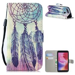 Feather Wind Chimes 3D Painted Leather Wallet Phone Case for Mi Xiaomi Redmi 6