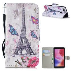Paris Tower 3D Painted Leather Wallet Phone Case for Mi Xiaomi Redmi 6