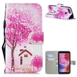 Tree House 3D Painted Leather Wallet Phone Case for Mi Xiaomi Redmi 6