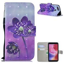 Purple Flower 3D Painted Leather Wallet Phone Case for Mi Xiaomi Redmi 6
