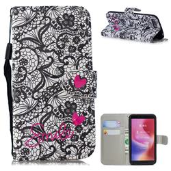 Lace Flower 3D Painted Leather Wallet Phone Case for Mi Xiaomi Redmi 6