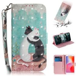 Black and White Cat 3D Painted Leather Wallet Phone Case for Mi Xiaomi Redmi 6