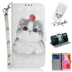Cute Tomato Cat 3D Painted Leather Wallet Phone Case for Mi Xiaomi Redmi 6