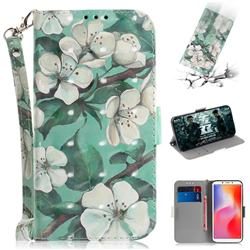 Watercolor Flower 3D Painted Leather Wallet Phone Case for Mi Xiaomi Redmi 6