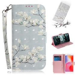 Magnolia Flower 3D Painted Leather Wallet Phone Case for Mi Xiaomi Redmi 6