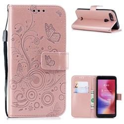 Intricate Embossing Butterfly Circle Leather Wallet Case for Mi Xiaomi Redmi 6 - Rose Gold