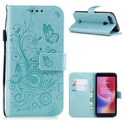 Intricate Embossing Butterfly Circle Leather Wallet Case for Mi Xiaomi Redmi 6 - Cyan