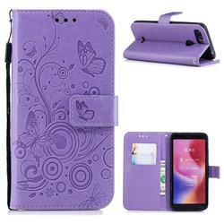 Intricate Embossing Butterfly Circle Leather Wallet Case for Mi Xiaomi Redmi 6 - Purple
