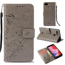 Embossing Butterfly Flower Leather Wallet Case for Mi Xiaomi Redmi 6 - Grey