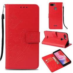 Embossing Butterfly Flower Leather Wallet Case for Mi Xiaomi Redmi 6 - Red