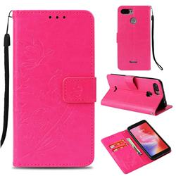 Embossing Butterfly Flower Leather Wallet Case for Mi Xiaomi Redmi 6 - Rose