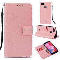 Embossing Butterfly Flower Leather Wallet Case for Mi Xiaomi Redmi 6 - Pink