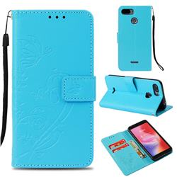 Embossing Butterfly Flower Leather Wallet Case for Mi Xiaomi Redmi 6 - Blue