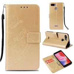 Embossing Butterfly Flower Leather Wallet Case for Mi Xiaomi Redmi 6 - Champagne