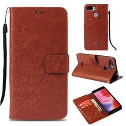 Embossing Butterfly Flower Leather Wallet Case for Mi Xiaomi Redmi 6 - Brown