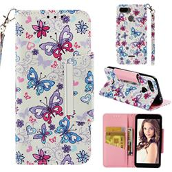 Colored Butterfly Big Metal Buckle PU Leather Wallet Phone Case for Mi Xiaomi Redmi 6