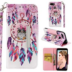 Owl Wind Chimes Big Metal Buckle PU Leather Wallet Phone Case for Mi Xiaomi Redmi 6