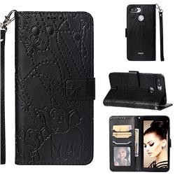 Embossing Fireworks Elephant Leather Wallet Case for Mi Xiaomi Redmi 6 - Black