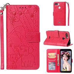 Embossing Fireworks Elephant Leather Wallet Case for Mi Xiaomi Redmi 6 - Red