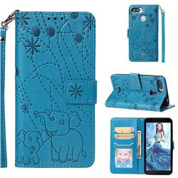 Embossing Fireworks Elephant Leather Wallet Case for Mi Xiaomi Redmi 6 - Blue