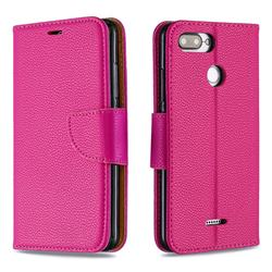 Classic Luxury Litchi Leather Phone Wallet Case for Mi Xiaomi Redmi 6 - Rose