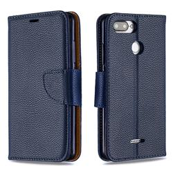 Classic Luxury Litchi Leather Phone Wallet Case for Mi Xiaomi Redmi 6 - Blue