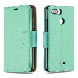 Classic Luxury Litchi Leather Phone Wallet Case for Mi Xiaomi Redmi 6 - Green