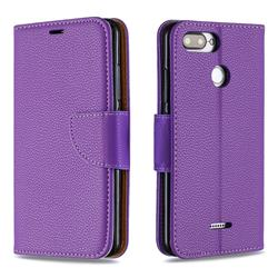 Classic Luxury Litchi Leather Phone Wallet Case for Mi Xiaomi Redmi 6 - Purple
