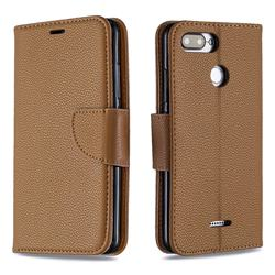Classic Luxury Litchi Leather Phone Wallet Case for Mi Xiaomi Redmi 6 - Brown