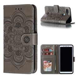 Intricate Embossing Datura Solar Leather Wallet Case for Mi Xiaomi Redmi 6 - Gray