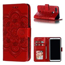 Intricate Embossing Datura Solar Leather Wallet Case for Mi Xiaomi Redmi 6 - Red