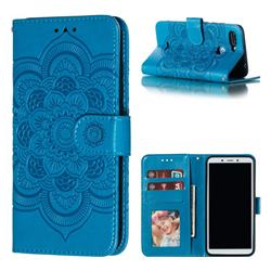 Intricate Embossing Datura Solar Leather Wallet Case for Mi Xiaomi Redmi 6 - Blue