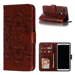 Intricate Embossing Datura Solar Leather Wallet Case for Mi Xiaomi Redmi 6 - Brown
