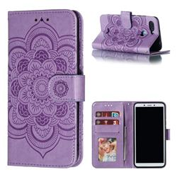 Intricate Embossing Datura Solar Leather Wallet Case for Mi Xiaomi Redmi 6 - Purple