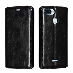 Retro Slim Magnetic Crazy Horse PU Leather Wallet Case for Mi Xiaomi Redmi 6 - Black