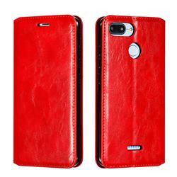 Retro Slim Magnetic Crazy Horse PU Leather Wallet Case for Mi Xiaomi Redmi 6 - Red