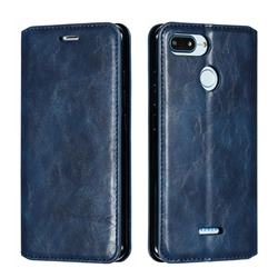 Retro Slim Magnetic Crazy Horse PU Leather Wallet Case for Mi Xiaomi Redmi 6 - Blue
