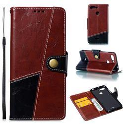 Retro Magnetic Stitching Wallet Flip Cover for Mi Xiaomi Redmi 6 - Dark Red