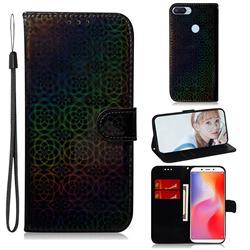 Laser Circle Shining Leather Wallet Phone Case for Mi Xiaomi Redmi 6 - Black