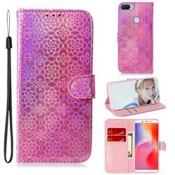 Laser Circle Shining Leather Wallet Phone Case for Mi Xiaomi Redmi 6 - Pink