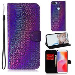 Laser Circle Shining Leather Wallet Phone Case for Mi Xiaomi Redmi 6 - Purple