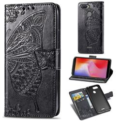 Embossing Mandala Flower Butterfly Leather Wallet Case for Mi Xiaomi Redmi 6 - Black