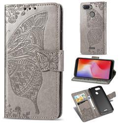 Embossing Mandala Flower Butterfly Leather Wallet Case for Mi Xiaomi Redmi 6 - Gray