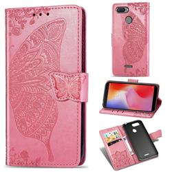 Embossing Mandala Flower Butterfly Leather Wallet Case for Mi Xiaomi Redmi 6 - Pink