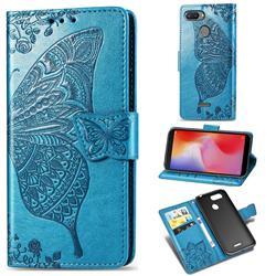 Embossing Mandala Flower Butterfly Leather Wallet Case for Mi Xiaomi Redmi 6 - Blue